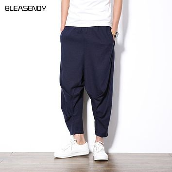 Men's Cotton and Linen Casual Pants Summer Thin Section Large Size Solid Color Loose Drawstring Chinese Ankle-length Harem Pants