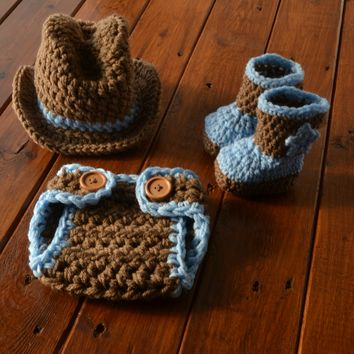 Set Cowboy Hat Diaper Cover And Boots Newborn Baby Photo Prop