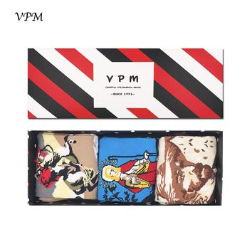 VPM GIFT BOX EU 38-44 Men&Women Socks Colorful Famous Oil Painting Art Harajuku Lover Dress Happy Winter Socks (3 pairs / lot )
