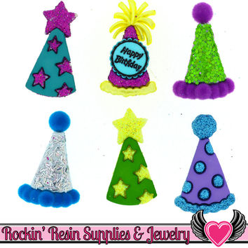 Jesse James Buttons 6 pc Birthday PARTY HATS Buttons OR Turn them Into Flatback Decoden Cabochons