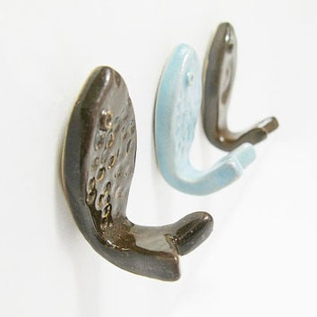 Wall Hooks Stoneware Ceramic Decorative Fish in Brown and Turquoise Set of 3