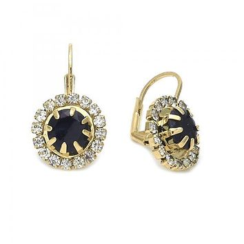 Gold Layered 5.125.005 Leverback Earring, Flower Design, with Black and White Cubic Zirconia, Polished Finish, Gold Tone