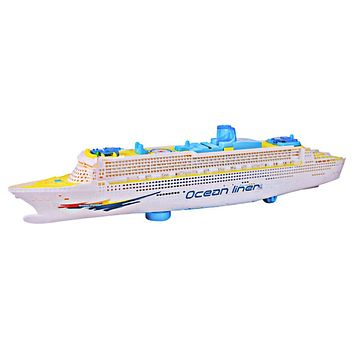 Ocean Liner Ship Light Music Model Flashing Sound Electric Cruises Toys for Children Kids Boat Gift Automatic Steering