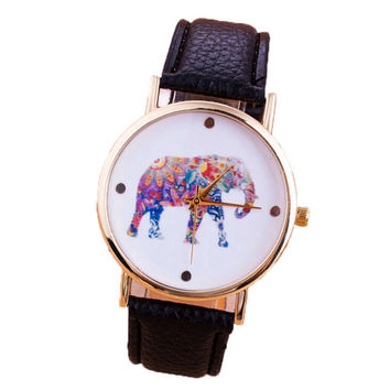 Womens Multicolor Elephant Leather Strap Watches Girls Unique Casual Sports Watch Best Christmas Gif