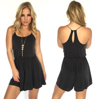 Suede Ways Romper In Charcoal Grey