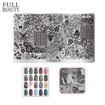 Full Beauty 1pcs Nail Stamping Templates Flower Image Butterfly Stamp Plate Nail Art Decor 10.5x16cm Steel Stencils CHFlower02