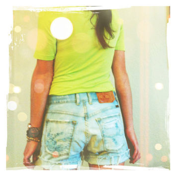 Bleached Jean Lucky Shorts Floral
