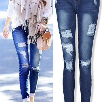 Ripped Holes Jeans Stretch Cotton Pen Skinny Pants [73420931098]