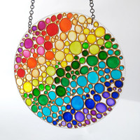 Hand Painted Suncatcher,  Multi Coloured Bubbles Window Hanging Gift, Stand Glass Painting Home Decor