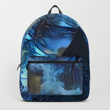 Blue forest, dark sky view, abstract spooky artwork, sad winter trees, dark blue colors nature theme Backpacks by Casemiro Arts - Peter Reiss