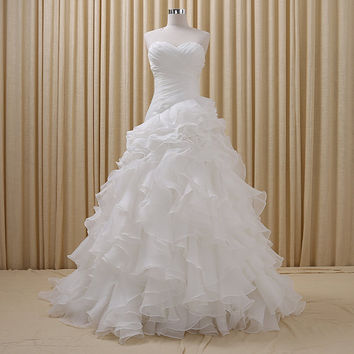 Pleated Sweetheart Ruffled Weddin Dress Lace-up Bridal Gown Prom Dress Ball Gown
