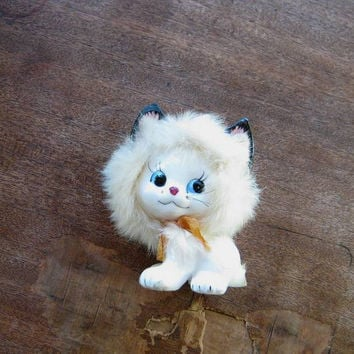Vintage Kitty Cat Kitsch: White Ceramic Kitten w/ Fur & Whiskers + Black Cat-Embellished Turquoise Fabric/Wall/Decor/Mini Curtains