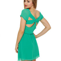 Lovely Turquoise Dress - Short Sleeve Dress - $39.00