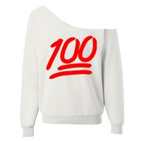 100 Emoji Off-The-Shoulder Wide Neck Sweatshirt