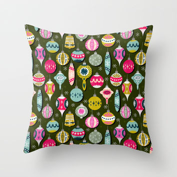 Christmas Ornaments Throw Pillow by Andrea Lauren Design