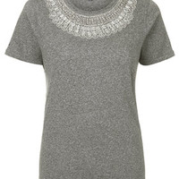 PETITE Glass Bead Tee - Grey