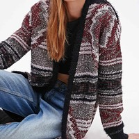 Staring at Stars Pattern Cardigan in Burgundy - Urban Outfitters