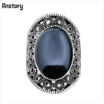 CREYCI7 Hollow Flower Oval Stone Rings For Women Vintage Antique Silver Plated Fashion Jewelry TR410