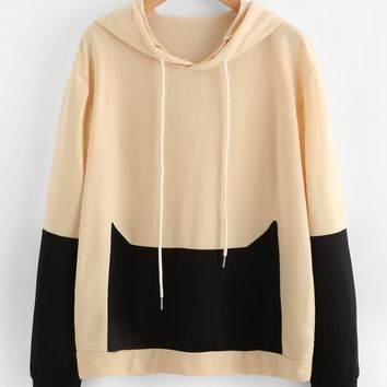 Patchwork Long Sleeve Hoodies Autumn Hoodies [11889270543]