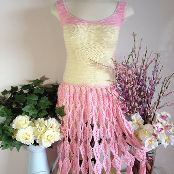OOAK Women's Pink & Yellow Lace Statement Gown - Hand Crochet Pineapple Lace Dress - Bridesmaid / Prom / Wedding / Formal Fashion Gown