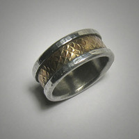 Rustic wedding band for men - custom handmade mixed metalwork men's engagement ring - brass and silver rustic wedding band