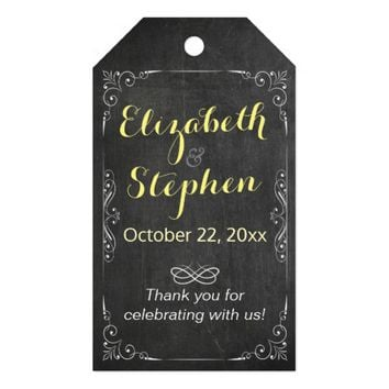 Black White Chalkboard Wedding Thank You Gift Tag