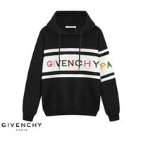 Givenchy sells fashionable new hoodies with embroidered monochrome monochrome stripes