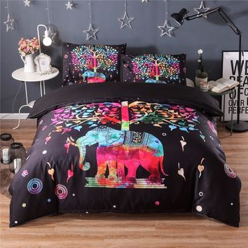 Bohemian Duvet Cover Set 2/3pcs Double Queen King Bedclothes Bed Linen Colorful Elephant print Bedding Sets(No Sheet No Filling)