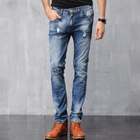 Men Denim Pants Slim Cotton Jeans [6528597315]
