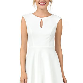 Teeze Me | Sleeveless Keyhole Front Laser Cutout Back Fit and Flare Dress | Off-White