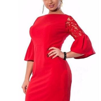 Bell Sleeve Plus Size Women's Bodycon Dress