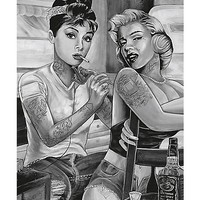 Tattoo Pin UP Audrey Hepburn And Marilyn Monroe Poster - Spencer's