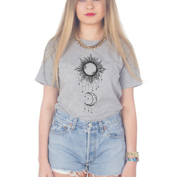 Boho Draping Moon and Sun T-shirt