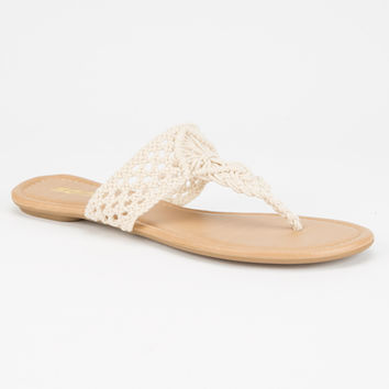 Soda Macrame Womens Sandals Beige  In Sizes