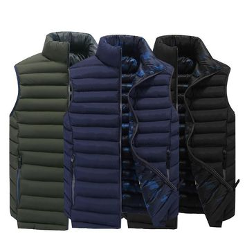 Men Vest Sleeveless Jacket Spring Puffer Jacket Warm Zipper Stand Collar Jacket Wasitcoat Men Cotton Padded Vest