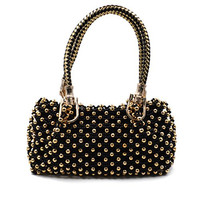 Totally handmade-Aisi Women's Perfect Small Black Handmade Unique Vintage Style Crystal Shinning Handbag Purse (Golden-bead)