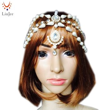 Diamante Crystal Pearl Indian Matha Patti Tikka Head Chain Bollywood Jewelry Grecian Hijab Jewellery Bridal Wedding  KD028