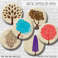 Trees Colorful Neutral Digital Collage Sheet 18mm 16mm 14mm 12mm Circle Round both 4x6 8.5x11 Sheets for Earrings Pendants Cuff Links Image