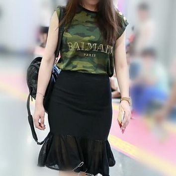 balmain women fashion letter camouflage vest buttons decoration sleeveless cotton t shirt casual tops