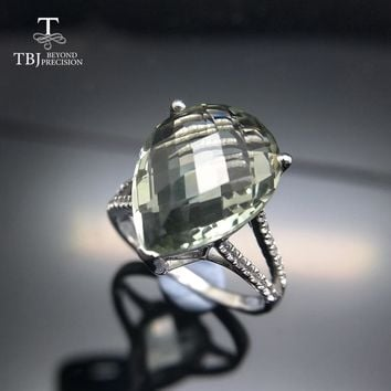 TBJ,Big natural 7ct green amethyst checkerboard cutting Ring  in  925  sterling silver gemstone jewelry for girls with gift box