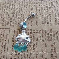 Lovely Cute Cloud Raindrop Charm Belly Button Ring, Crystal Belly Ring, Belly button jewelry