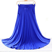 2016 New Spring Summer Skirts Women Modal Long Skirt Casual Ladies Maxi Skirts Pleated Midi Skirt Women Saia Color Gray Blue Red
