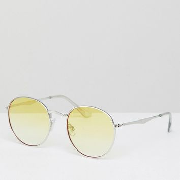 Jeepers Peepers Round Sunglasses In Silver With Yellow Lens at asos.com