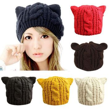ESBU3C 2016 Fashion Lady Girls Winter wool makes hotspot Cat Ear Hat Beanie  Free shipping