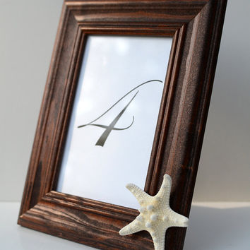 "Knobby Star Fish Sea Shell Dark Brown Solid Wood 4x6"" Inch Picture Frame-Minimalist Chic Beach Wedding Table Number Coastal Home Photo Decor"