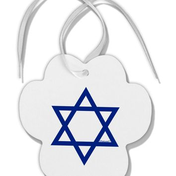 Jewish Star of David Paw Print Shaped Ornament by TooLoud