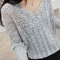 Casual Gray V-Neck Long Sleeve Cut Out Sweater