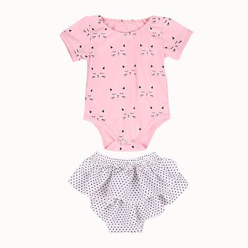 Clothing Infant Baby Girls Short Sleeve Cat Romper +Wave point shorts Outfit Clothes Set