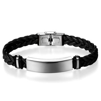 SHIPS FROM USA Brand New Fashion Weave Leather Bracelet Stainless Steel Wristband Bracelet for Women Men Jewelry Pulseira Masculina