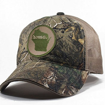 Homeland Tees Men's Wisconsin Home State Realtree Camo Trucker Hat - Army Green